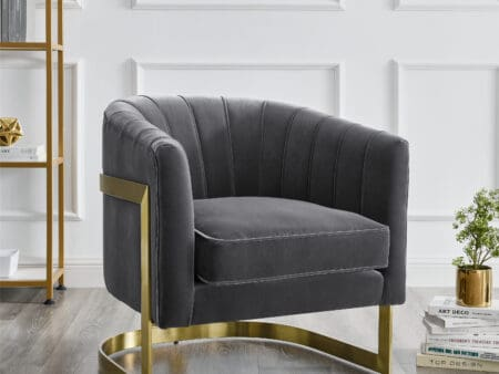 Elsie Feather Grey Velvet Chair