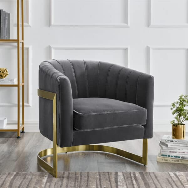 Elsie Feather Grey Velvet Chair