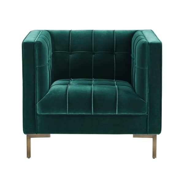 Isabella Pine Green Velvet Armchair
