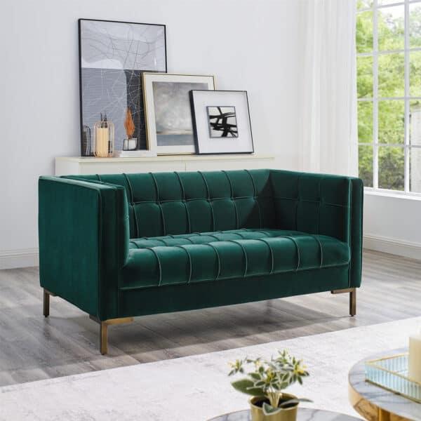 Isabella Pine Green Velvet Two Seater Sofa