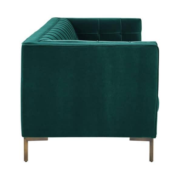 Isabella Pine Green Velvet Three Seater Sofa