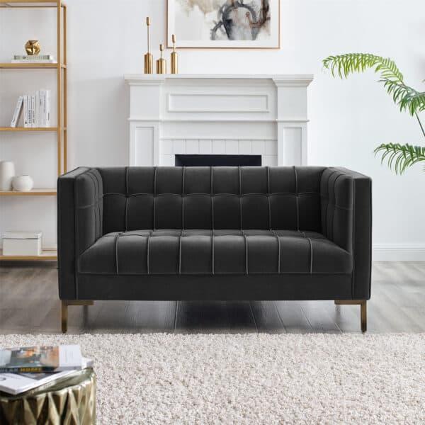 Isabella Moonlight Grey Velvet Two Seater Sofa