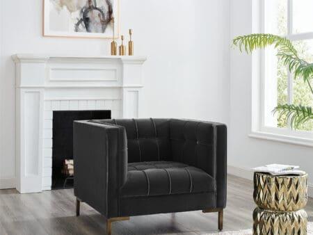 Isabella Moonlight Grey Velvet Armchair